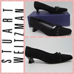 STUART WEITZMAN LITTLEBOW BLACK CREPE PUMPS 7M